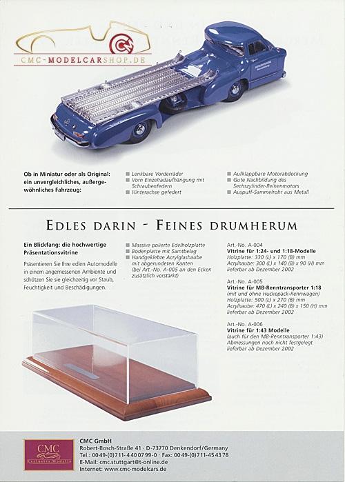 CMC Modell Prospekt Mercedes-Benz Renntransporter 1/43