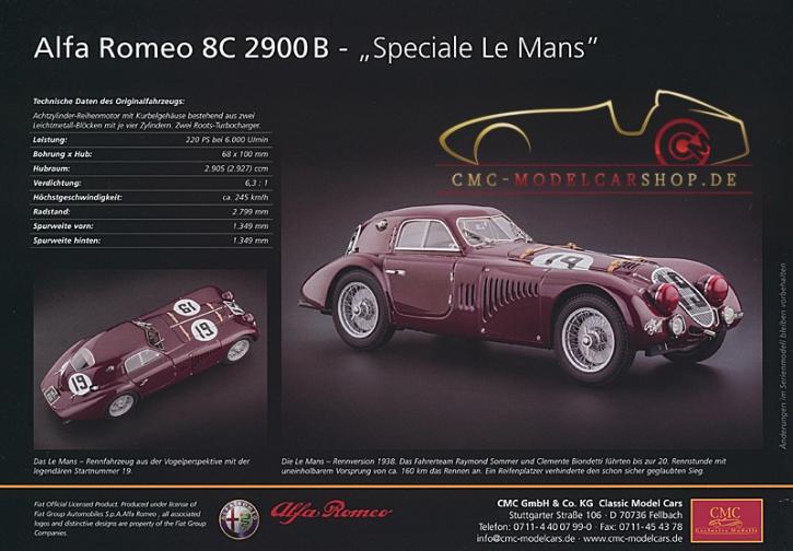 CMC Modell Prospekt Alfa Romeo 8C 2900B Speciale Le Mans