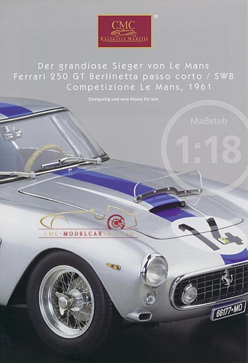 CMC Modell Prospekt Ferrari 250 GT Berlinetta, Competizione Le Mans,1961