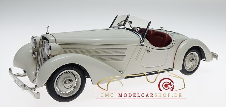 """CMC Audi Front 225 Roadster, 1935, blanc, Anniversaire """"100 ans Audi"""" en boîte spéciale"""