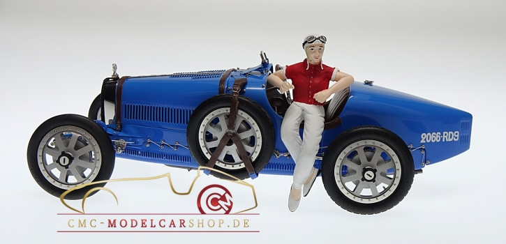 "CMC Bugatti T35 ""bright blue"" Livery With a Female Racer Figurine"