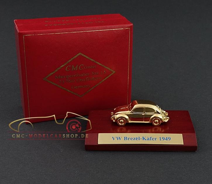 CMC VW Käfer Brezelkäfer 1949, vergoldet, 1:87