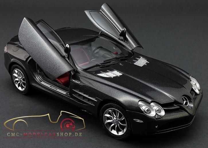 CMC Mercedes-Benz SLR McLaren, Anthrazit Metallic, Leder rot