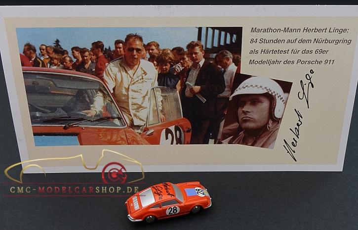 Schuco Piccolo Porsche 911 Marathon de la Route 1968 signiert Herber Linge