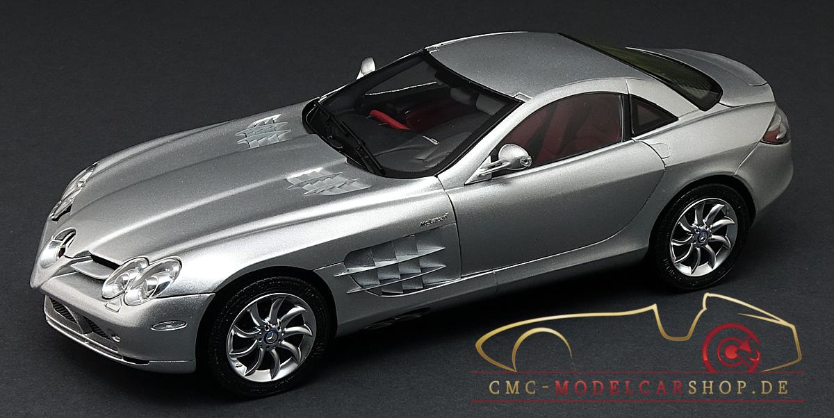CMC Mercedes Benz SLR McLaren, Silver Metallic, Leather Red