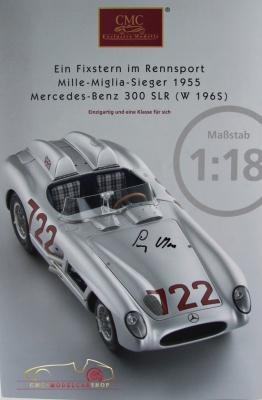 CMC fiche/depliant Mercedes-Benz 300 SLR Stirling Moss Mille Miglia original signé