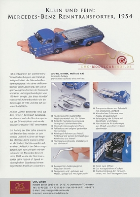 CMC model car brochure Mercedes-Benz Racing car transporter 1/43