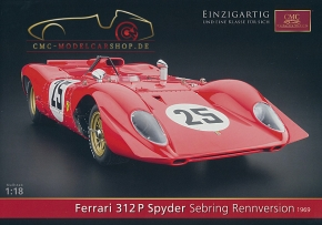 CMC model car brochure Ferrari 312P Spyder Sebring racing version