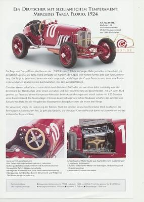 CMC Modell Prospekt Mercedes Targa Florio, 1924
