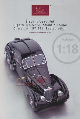 CMC Modell Prospekt Bugatti Typ 57 SC Atlantic Coupé, schwarz