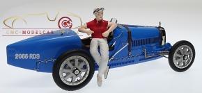 CMC Bugatti T35 blau mit Frau-Rennfahrerin Figur