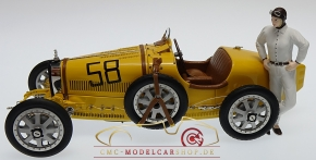 CMC Bugatti T35 Yellow Livery With a Female Racer Figurine