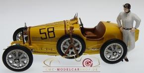 CMC Bugatti T35 gelb mit Frau-Rennfahrerin Figur